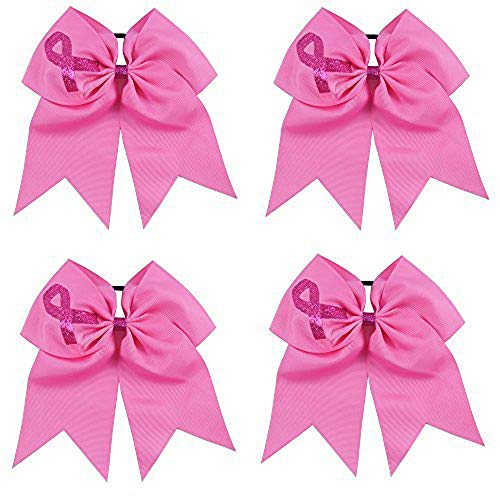 CN 7 Inch Jumbo Breast Cancer Awareness Cheerleader Bow Print Grosgrain Ribbon Hair Bows With Elastic Tie for cheerleader -