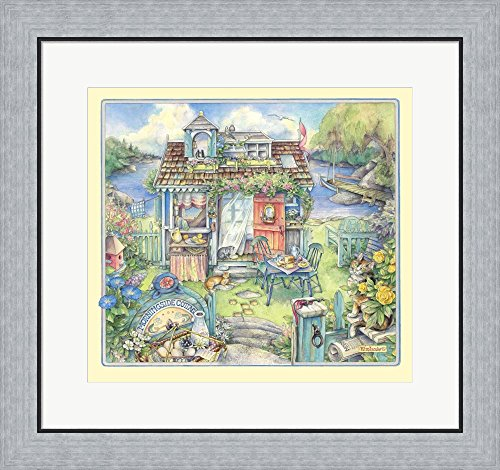 Morningside Cottage (Morningside Cottage by Kim Jacobs Framed Art Print Wall Picture, Flat Silver Frame, 24 x 23 inches)