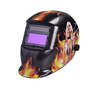 Nuzamas Solar Powered Auto Darkening Welding Helmet Mask Weld Face Protection for Arc Tig Mig Grinding Plasma Cutting with Adjustable Shade Range DIN4/9-13 UV/IV protection DIN16Girl on Fire