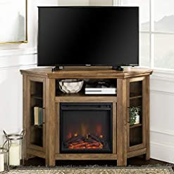 Farmhouse Living Room Furniture Walker Edison Alcott Classic Glass Door Fireplace Corner TV Stand for TVs up to 55 Inches, 48 Inch, Rustic Oak farmhouse tv stands