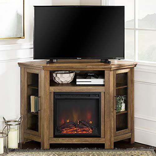 WE Furniture Fireplace Stand, Rustic Oak (Rustic Furniture Tv)