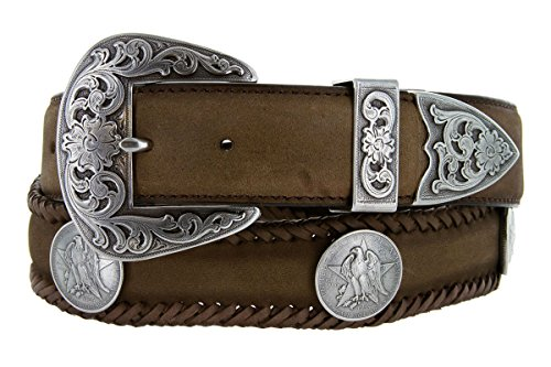 [Texas Centennial Half Dollar Eagle Star Coin Concho Western Leather Scalloped Belt Brown 34] (Concho Western Leather)