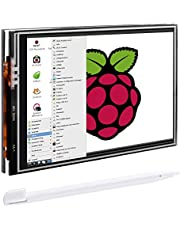 Pantalla para Raspberry Pi, Quimat 3.5 Inch Pantalla Táctil TFT LCD 480x320 con Cáscara Protectiva+ 3 Disipadores de calor + Lapiz Tactil para Raspberry Pi 3 2 1 Modelo B