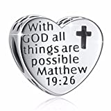 925 Sterling Silver'' With God All Things Are Possible'' Heart Charms Fit European Snake Chain Bracelets