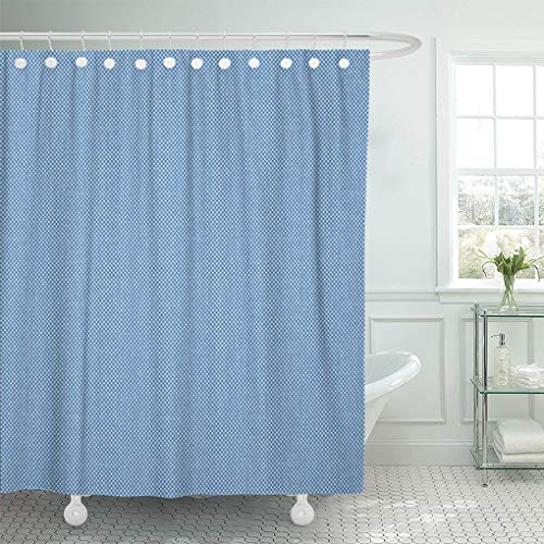 Semtomn Shower Curtain Pattern Blue Chambray Abstract Oxford Dotted White Denim Material Shower Curtains Sets with 12 Hooks 60 x 72 Inches Waterproof Polyester Fabric