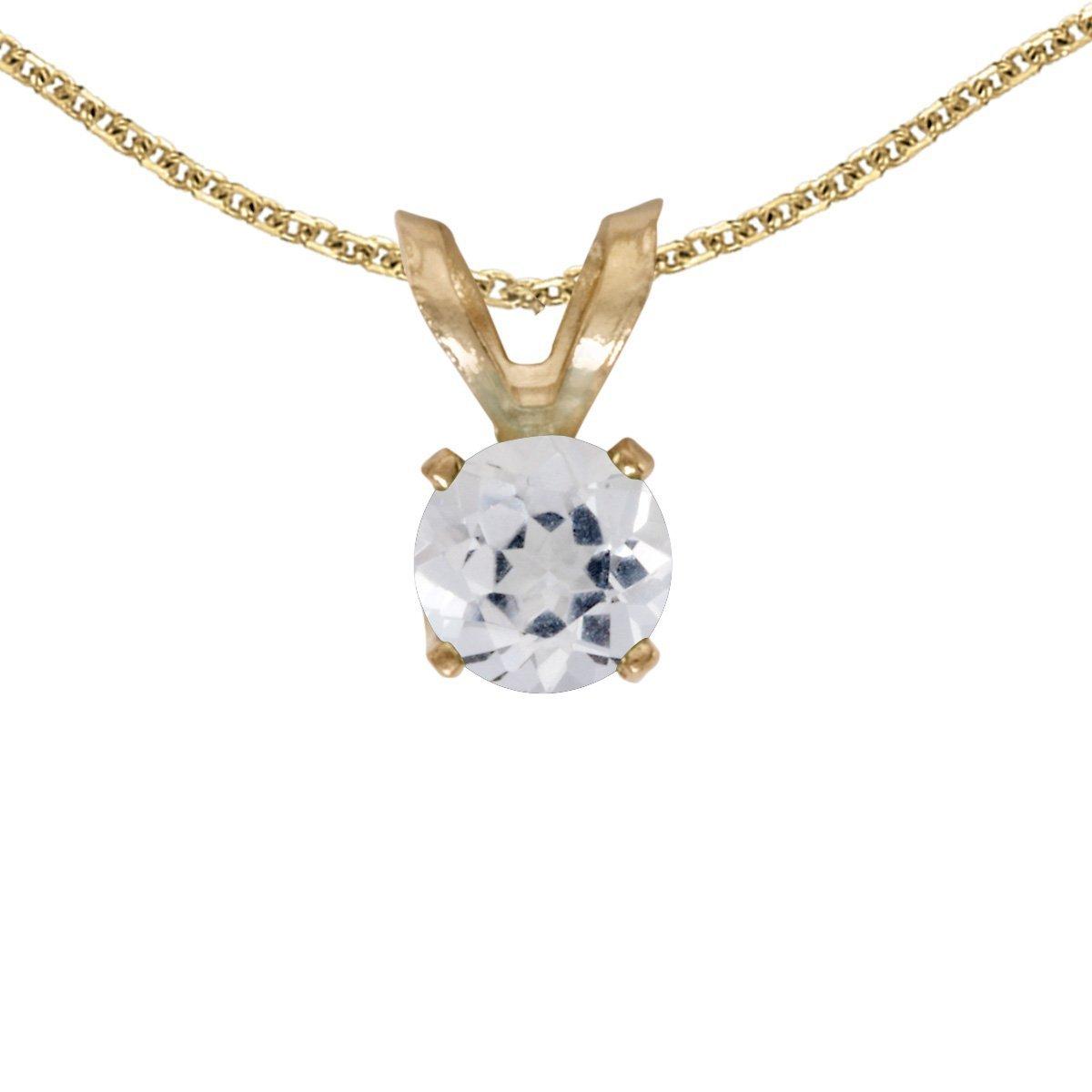 1//4 Cttw. FB Jewels Solid 14k Yellow Gold Genuine Birthstone Round Gemstone Pendant