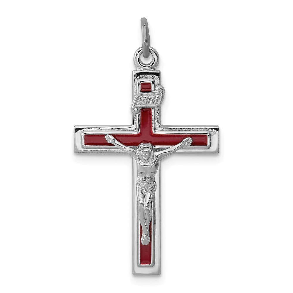 Jewel Tie Sterling Silver Enameled Crucifix Cross Pendant 17mm x 31mm