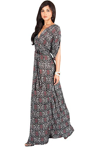 KOH KOH Womens V-Neck Short Sleeve Summer Casual Cute Boho Print Gown Maxi Dress