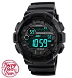 Mens Black Digital Sport Watch - Digital Watch Sports Silicone Watch for Men for Teen for Boys with Dual Time, Stopwatch, Alarm, 165 FT Waterproof