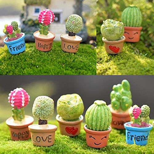 Shineweb Small Resin Potted Artificial Plant Flower Cactus Garden House Ornament Dollhouse Plant Pot Figurine DIY Outdoor Decor Home Halloween Decoration