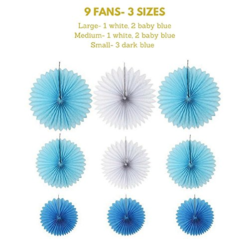 Large Product Image of Baby Shower Decorations for Boy kit, It's A Boy, Banner, Tissue Paper, Fans, Honeycomb Paper Balls, Tassels, Blue, Gold Foil, Hanging, Party Supplies, Indoor/Outdoor
