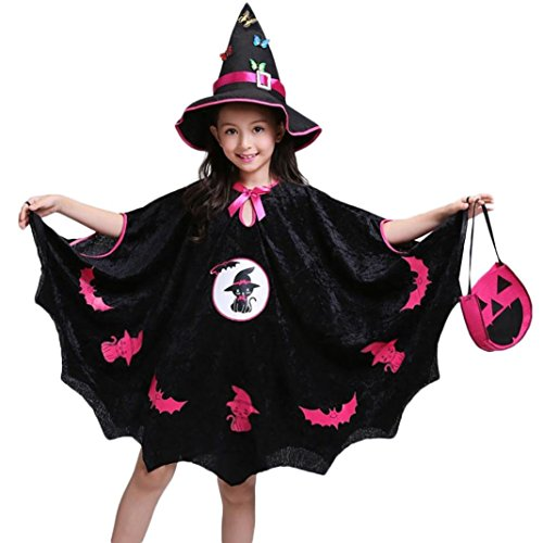 KONFA Teen Girls Halloween Costume Cloak with Witch Hat and Pumpkin Bag,for 4-15 Years Old,Little Princess 3Pcs Masquerade Skirt Outfits Clothing Set (Black, 13-15 Years Old) for $<!--$15.86-->
