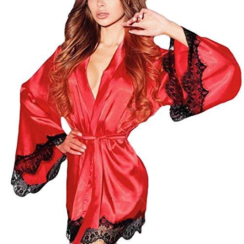 Body Lingerie Sexy ASHOP Camicia da notte Kimono in seta da donna Completo Intimo Sexy Rosso