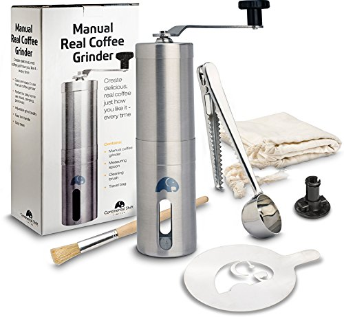 Manual Coffee Grinder – Ceramic Burr for Precise Grind – Elegant Easy to Use Coffee Bean Grinder – Perfect for the Connoisseur – Great for Home, Travel & Camping – Free Bonus Stencil & Spare Burr Lock
