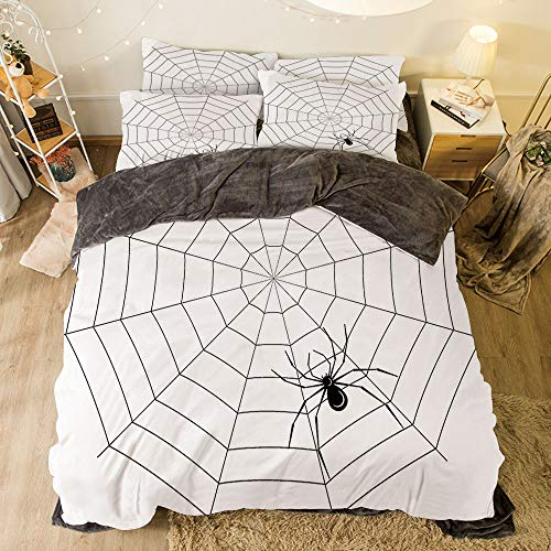 (Flannel 3D Printed 4 Pieces on The Bed Duvet Cover Set for Bed Width 6.6ft Pattern by,Spider Web,Toxic Poisonous Insect Thread Crawly Malicious Bug Halloween Character Design Decorative,Black)