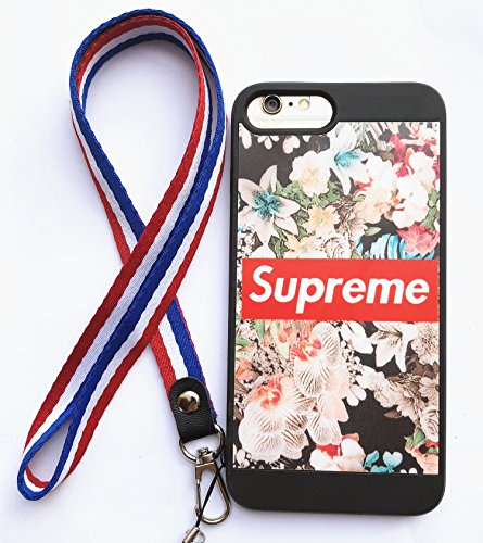 Cover Neck Supreme (iPhone 7 Plus and 8 Plus Supreme Case,Reflective Mirror Case Flower Pattern Cover with Soft Neck Lanyard.Shockproof Resistant Case for iPhone 7 Plus and 8 Plus Case 5.5 Inch. (Flower Pattern))
