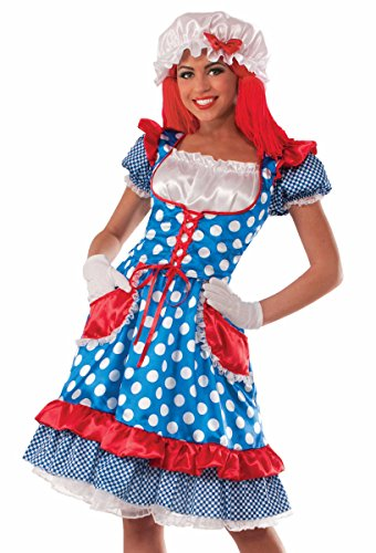 Forum Novelties Women's Rag Doll Lady Costume, Blue/Red, Standard for $<!--$25.39-->