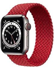 Flätat solo loop band kompatibelt med Apple Watch 44 mm 42 mm 38 mm 40 mm elastiskt vävt ersättningsband för iWatch serie 6 SE 5 4 3 2 1