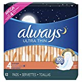 Always Ultra Thin, Size 4, Overnight Pads With Wings, Unscented, 52 Count