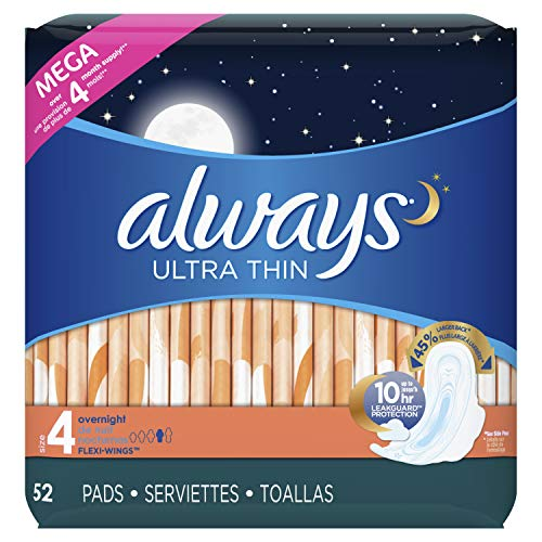 Always Ultra Thin, Size 4, Overnight Pads With Wings, Unscented, 52 Count (Pack of 3) (Always Ultra Thin Overnight Pads With Flexi Wings)