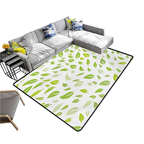 (Slip-Resistant Washable Entrance Doormat Leaf,Various Types of Green Fresh Leaves Illustration with Garden Summer Season Graphic Design,Green 60