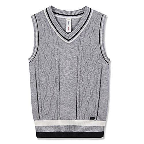 Benito & Benita Sweater Vest School Vest V-Neck Uniforms Cotton Cable-Knit Pullover For Boys/Girls 2-12Y (Boys Uniform Sweater)