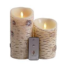 Set of 2 Luminara Birch Bark Flameless Candles: 3.75x5 3.75x7 Birch Luminara Candle Set with Timer, Remote Control and Batteries