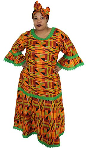 African Planet Women's Dress Queen Wedding Inspired Maxi with Gele headwrap (Orange and Green)