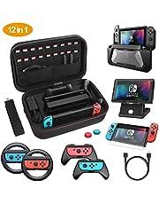 HEYSTOP Kit de Accesorios 12 en 1 para Nintendo Switch, con Funda de Transporte, TPU Cubierta Protectora, Joy-con Grip y Volante, Soporte,Protector de Pantalla, Apretones de Pulgar, Cable USB