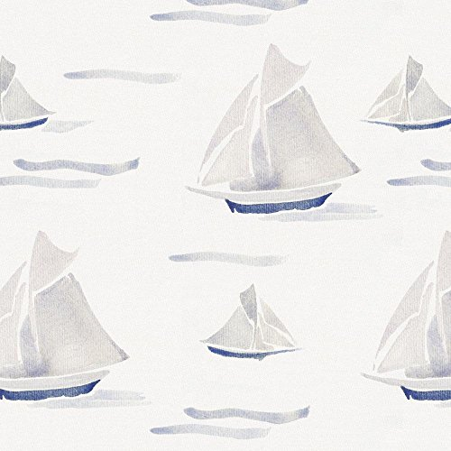 Carousel Designs Watercolor Sailboats Fabric by The Yard - Organic 100% Cotton