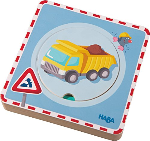 HABA Construction Site 5 Piece Wooden Puzzle with Layered Discs for Ages 12 Months and Up ()