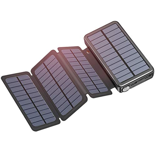 Best Solar Charger 25000mAh, Riapow Waterproof Power Bank with 4 Solar Panels, Dual USB  Type-C Input for Smart Phones, ipad and Laptop, Outdoor Camping