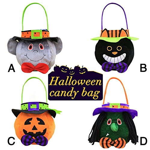 Jannyshop 4 Pack Halloween Festival Reusable Candy Tote Gift Bag for Treating Halloween Party Favors