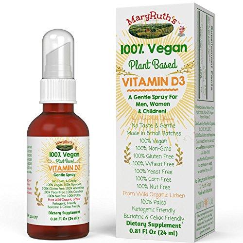VEGAN LIQUID VITAMIN D3 (Plant Based) by MaryRuth - From Organic Wild Lichen, Paleo Friendly, VEGAN, Non-GMO, GF, for Infants, Children, Men & Women 400-1000 IU per serving (1-2 Month Supply)