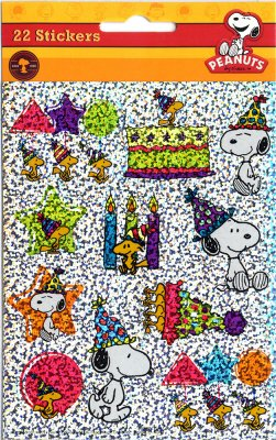 Sparkly Snoopy & Woodstock Happy Birthday Stickers - Peanuts - Balloons Cake Party Hats 44 Stickers Teachers Classroom Parties -