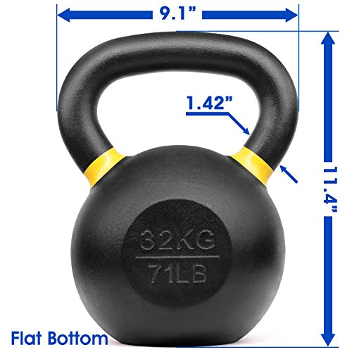 Yes4All Powder Coated Kettlebell Weights with Wide Handles & Flat Bottoms – 32kg/71lbs Cast Iron Kettlebells for Strength, Conditioning & Cross-Training by Yes4All (Image #3)