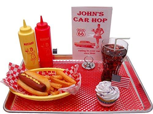 - Hot Dog Fake Food Car Hop Tray