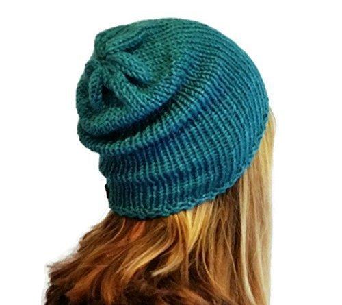 Handmade Womens Alpaca Turquoise Green Slouchy Beanie Hat