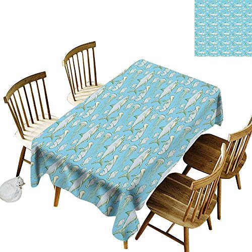 Polyester Rectangular Tablecloth W52 x L70 Shark Sea Creatures in Vintage Style Swimming Flatfish Stingray and Jellyfish Pale Blue Grey Green Great for Family Outdoors Restaurant Party Wedding Coffe