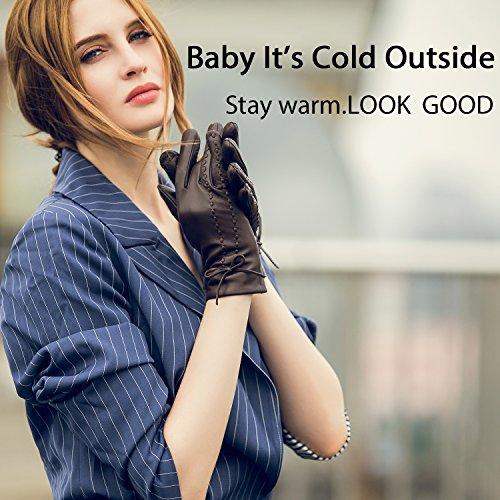 YISEVEN Womens Winter Touchscreen Sheepskin Leather Dress Gloves Fleece Lined