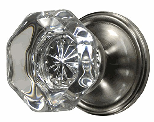 Providence Octagon Crystal Door Knob Set with Victorian Plate Rosettes in Brushed Nickel (Privacy Bed/Bath)