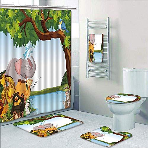 Bathroom Fashion 5 Piece Set shower curtain 3d print,Kids,Various Cartoon Style Animals Together by River Bank Tree Bird Cute Funny Wildlife Decorative,Multicolor,Bath Mat,Bathroom Carpet Rug,Non-Slip