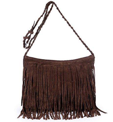 Hobo Crossbody TM BBG Drawstring Bags Coffee Suede Women Shoulder S Fringed Hippie Purses tTcRqWwFwn