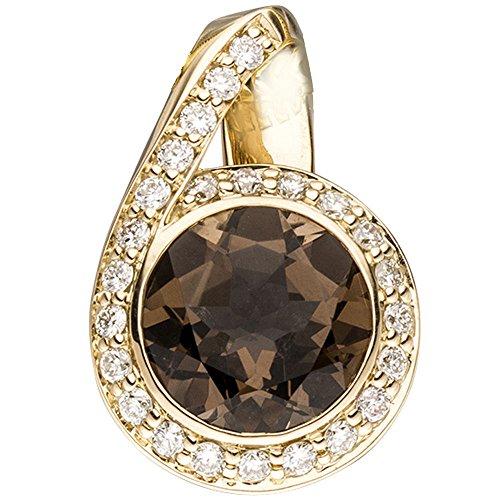 JOBO pendentif en or jaune 585 24 diamants brillants 0,30ct. 1 quartz fumé