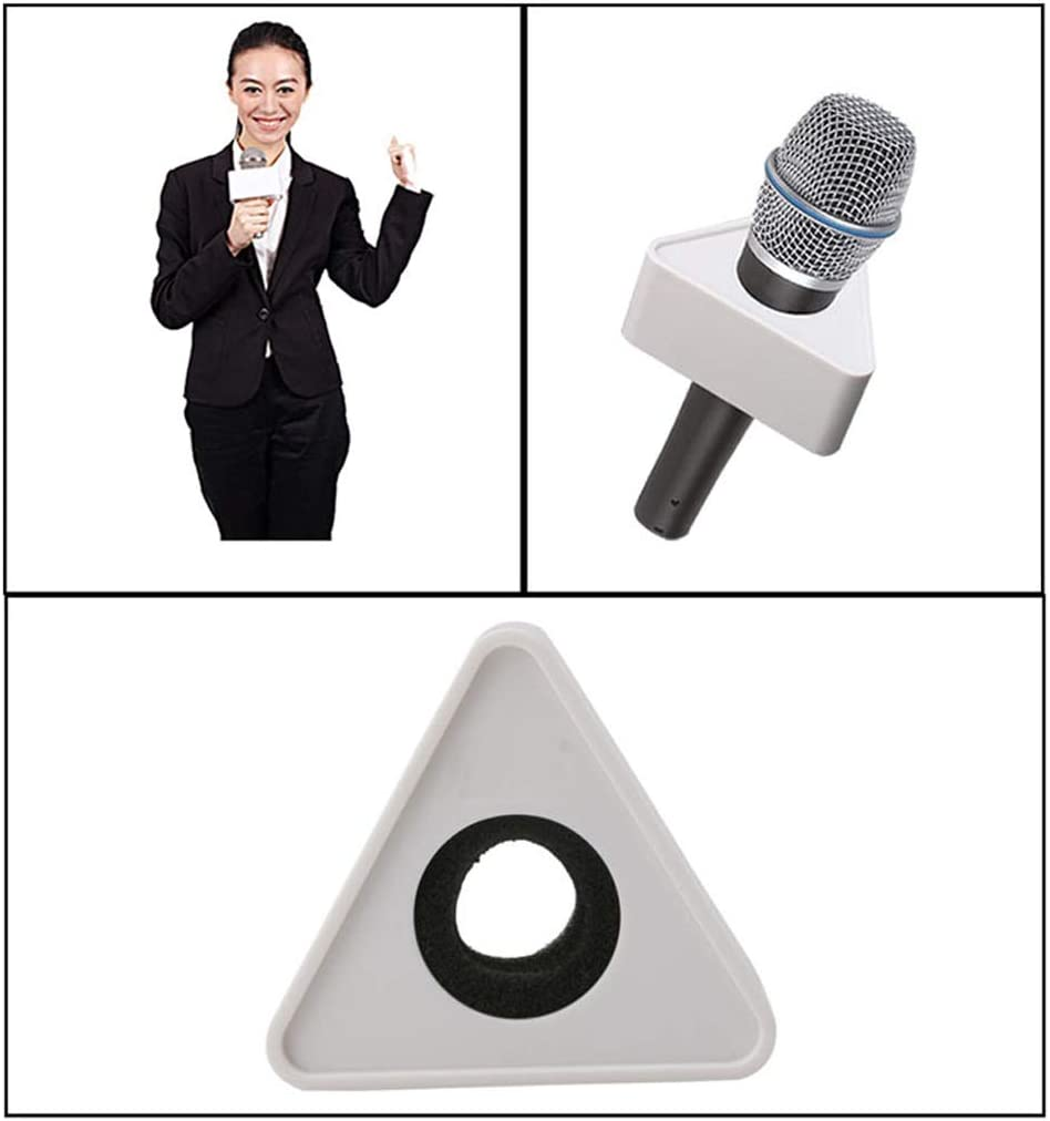XISAOK ABS Injection Molding Triangular Microphone Station Logo DIY for TV Interview-White