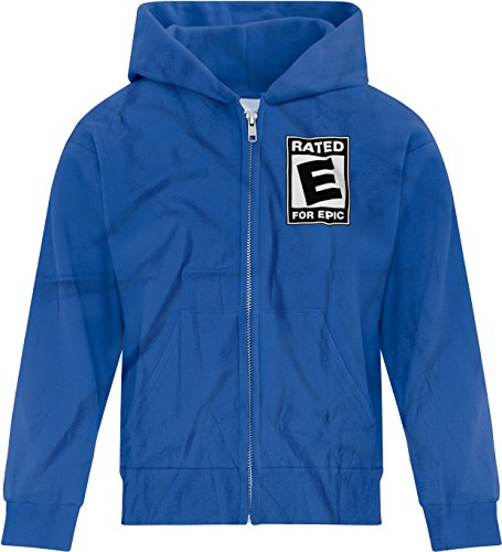 Price comparison product image BSW Girl's Rated E for Epic ESRB Video Entertainment Logo Zip Hoodie LRG Royal