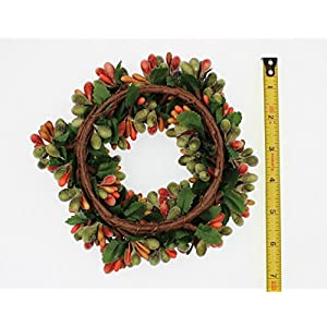 6.5-inch Beaded Berry Wreath Candlering Candle Ring Fall Green Orange Brown 3