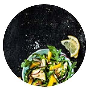 alfombrilla de ratón Ensalada fresca primavera verde (rúcula, pimiento amarillo, calabacín) - ronda - 20cm