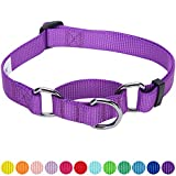 #10: Blueberry Pet 12 Colors Safety Training Martingale Dog Collar, Dark Orchid, Medium, Heavy Duty Nylon Adjustable Collars for Dogs