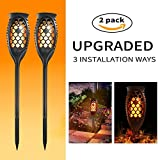 MZD8391 Waterproof Solar Torch Lights, Upgraded Dancing Flame Solar Garden Path Light, Outdoor Garden Decorations Landscape Pathway Light With Auto On/Off Dusk to Dawn (2 Pack)